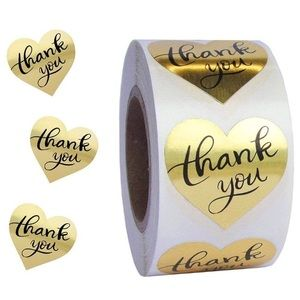 200 Gold Foil Heart Thank You Stickers